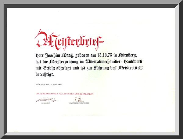 Meisterbrief Joachim Maaß